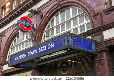 London, England - October 15: View of London Underground stations and logo in London, England on October 15, 2014.
