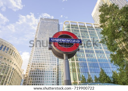LONDON, ENGLAND - SEPT 25: Underground Canary Wharf tube station in London on Septemer 25, 2016. The London Underground is the oldest underground railway in the world covering 402 km of tracks.