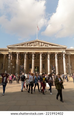 LONDON, ENGLAND - SEPTEMBER 2014: Crowded scene outside the British Museum, shown on 30 September 2014 in London - stock photo