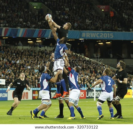 LONDON, ENGLAND - SEPTEMBER 24 2015: The 2015 Rugby World Cup Pool C match between New Zealand and Namibia at The Stadium, Queen Elizabeth Olympic Park - stock photo
