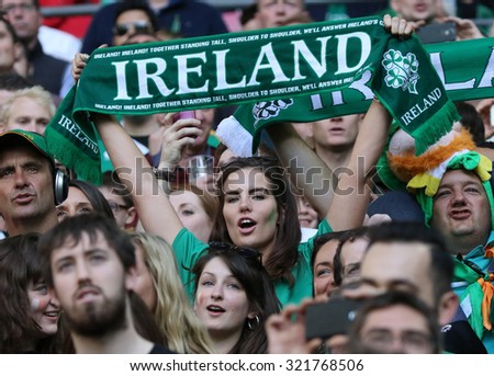 LONDON, ENGLAND - SEPTEMBER 27 2015: The 2015 Rugby World Cup Pool D match between Ireland and Romania at Wembley Stadium, on September 27, 2015 in London, United Kingdom. - stock photo