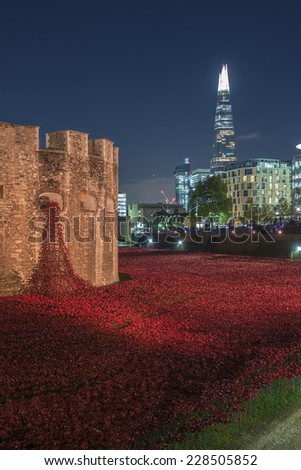 London, England - 5th November 2014. Blood Swept Lands And Seas Of Red, the world war one memorial in London.  - stock photo