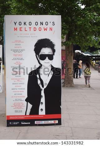 LONDON, ENGLAND, UK - JUNE 20: Hoarding of Yoko Ono Meltdown music festival on the South Bank on June 20, 2013 in London, England, UK - stock photo
