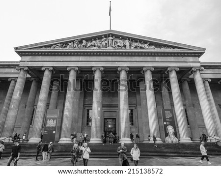 LONDON, ENGLAND, UK - JUNE 17, 2011: Tourists entering the British Museum from the main entrance in Russell Street
