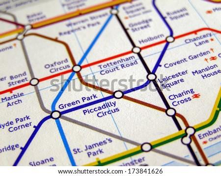 LONDON, ENGLAND, UK - NOVEMBER 04, 2007: Tube map of the London Underground subway lines - stock photo