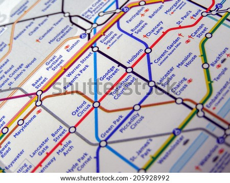 LONDON, ENGLAND, UK - NOVEMBER 04, 2007: Tube map of the London Underground subway lines - stock photo