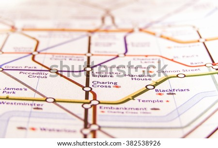 LONDON, ENGLAND, UK - NOVEMBER 04, 2007: Tube map of the London Underground subway lines, vintage