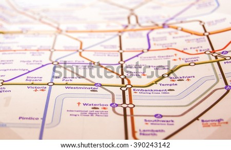 LONDON, ENGLAND, UK - NOVEMBER 04, 2007: Tube map of the London Underground subway lines vintage