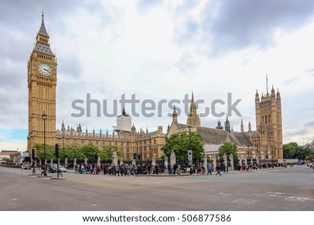 London, England, UK - October 12, 2013: Big Ben and the houses of Parliament at Westminster Abbey, a popular tourist landmark