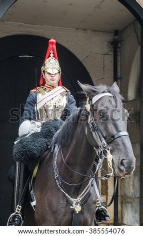 London England UK - September 2015 : Royal horse guard in London - stock photo