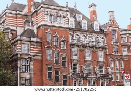 London England Vintage Red Brick Building - stock photo