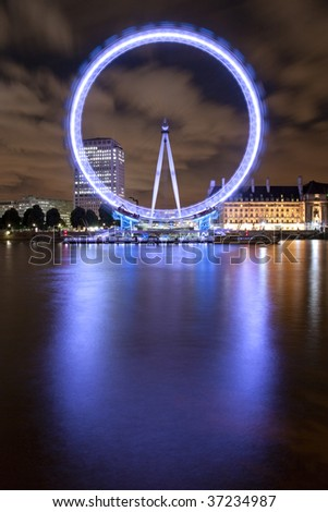 London Eye and the river Thames - stock photo
