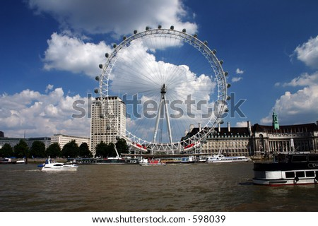London Eye and the Thames - stock photo