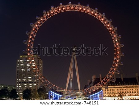 London Eye Millennium Wheel At night - stock photo