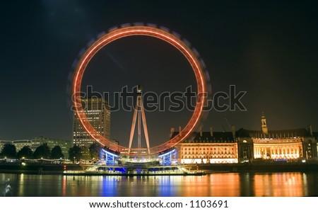 London Eye Millennium Wheel At night (county hall) - stock photo