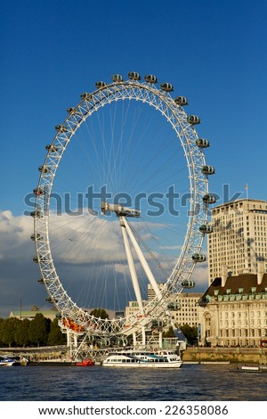 LONDON EYE October 10th 2014. Giant Ferris wheel on the river Thames, also known as the Millennium wheel. The tallest wheel in Europe and third in the world.  - stock photo