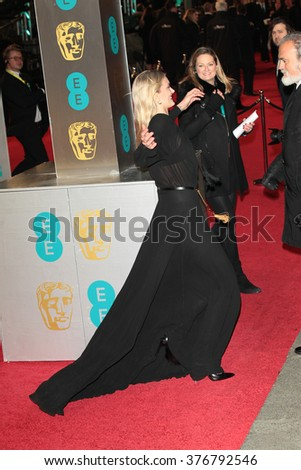 LONDON - FEB 14, 2016: Lily Donaldson attends the EE Bafta British Academy Film Awards at the Royal Opera House on Feb 14, 2016 in London