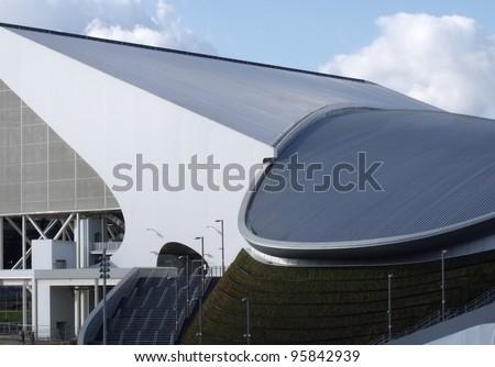 LONDON- FEB 19: 2012 London olympic stadium, Aquatics centre reaches completion at site in stratford, London, feb19, 2012. - stock photo