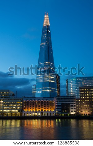 LONDON- FEB. 2: The shard building at london bridge, now complete is the tallest building in europe at over 1,000 feet . London, February, 2013. - stock photo