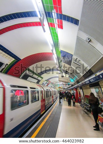 LONDON - FEBRUARY 17, 2015: A train arrives at the Piccadilly Circus underground station. London Underground is the 11th busiest metro system worldwide with 1.1 billion annual rides.