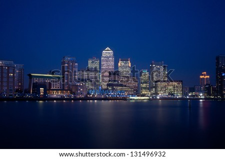 London financial district skyline 2013 at night - stock photo