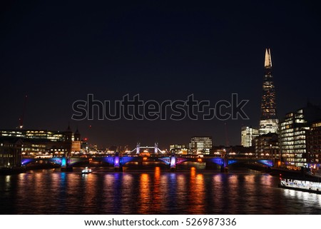 London from the Millennium bridge at night