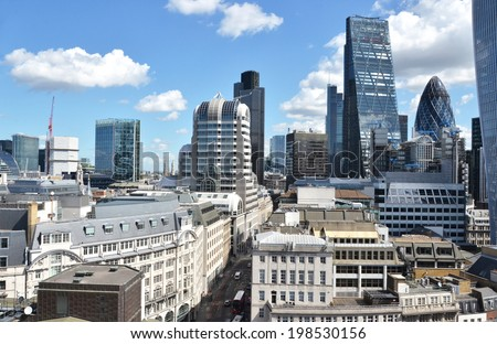London from the top of Monument - stock photo