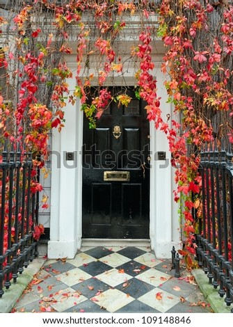 London: front door in a classic Victorian mansion. - stock photo