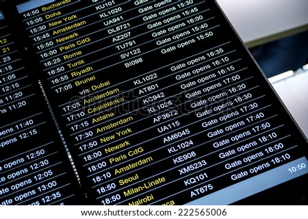 LONDON, HEATHROW - OCTOBER 3: Departures display board at airport terminal showing international destinations flights to some of the world's most popular cities in Heathrow, London on October 3, 2013. - stock photo