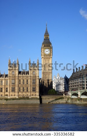 London - Houses of Parliament Palace of Westminster - stock photo