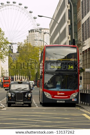 london icons, red bus, taxi and london eye