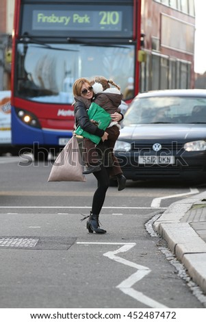 LONDON - JAN 30, 2013: Geri Halliwell seen out and about on Jan 30, 2013 in London.