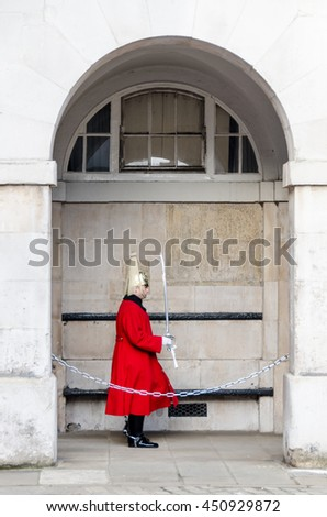 LONDON - JAN 16, 2016: the Royal Guard marching at the Admiralty House in London, England - stock photo