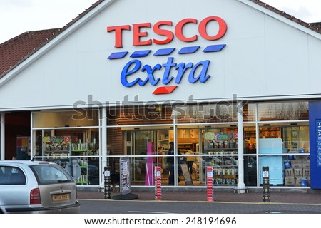 LONDON - JAN 29: View of a Tesco Extra Store in the town centre on Jan 29, 2015 in London, UK. Britain's Tesco is the world's third largest retailer after America's Walmart and France's Carrefour. - stock photo