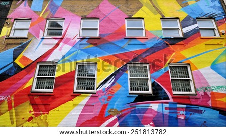 LONDON - JANUARY 11. Abstract street art by Australian artist Reka on January 11, 2015 at Chance Street, Shoreditch in the Borough of Tower Hamlets, an area renown for street painting in London. - stock photo