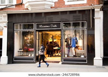 LONDON - JANUARY 22nd: The exterior of Massimo  Dutti on January the 22nd, 2015, in London, England, UK. Massimo has over 759 stores in more than 71 countries.