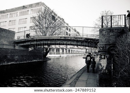 LONDON - JANUARY 2. Regents Canal near Camden Town, London Borough of Camden, London, UK in January 2, 2015