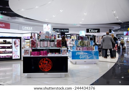 LONDON - JANUARY 9TH: The interior of Stanstead airport duty free section on January the 9th, 2015 in London, england, uk. Stanstead is the 3rd busiest airport in London - stock photo
