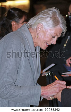 LONDON - JANUARY 5: Vanessa Redgrave attends the London premier of 'Coriolanus'   at the Curzon Cinema, Mayfair in London, England on January 5, 2012. - stock photo