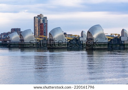 LONDON - JULY 26:  Barriers on the Thames protects against floodThames Barrier, July 26, 2014 in London, UK. - stock photo