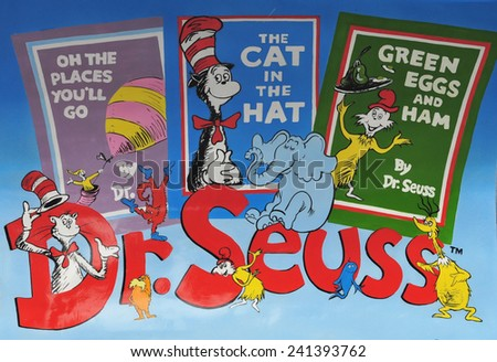 LONDON - JULY 5. Dr Seuss is a BookBench sculpture; one of 50 celebrating London's literary heritage with famous book titles on July 5, 2014 at various locations across London. - stock photo