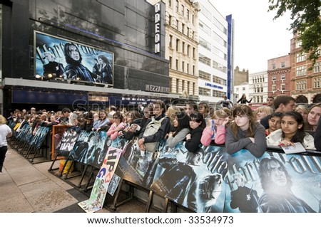 "LONDON - JULY 7: Fans atttend Harry Potter and the Half-Blood Prince"" world premiere at  Leicester Square, London on July 7, 2009."