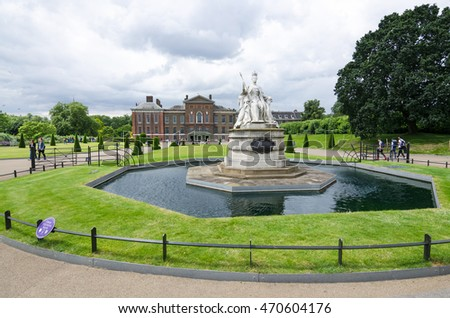 LONDON - July13: Statue of Queen Victoria of England in front of Kensington Palace on July13, 2016 in London. The palace host a permanent exhibition on Victoria, its most famous former resident.
