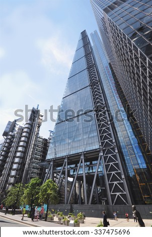 LONDON - JULY 26, 2014. The 738 feet (225 metre) wedge shaped Leadenhall Building, informally known as the Cheesegrater, designed by Rogers Stirk Harbour and Partners, in London, UK.