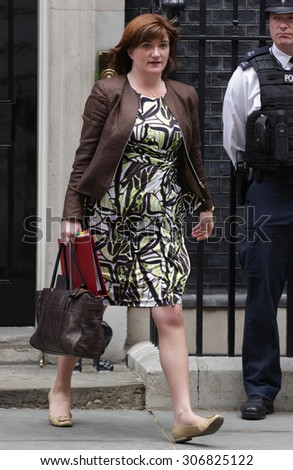 LONDON - JUN 23, 2015: Nicky Morgan,  Education Secretary seen at Downing Street on Jun 23, 2015 in London
