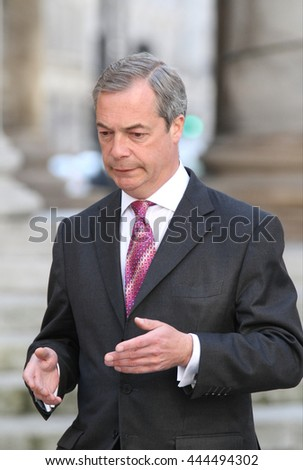 LONDON - JUN 11, 2014: Nigel Farage attends the BBC Andrew Marr show at the BBC studios  on Jun 11, 2014 in London