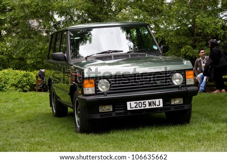 LONDON - JUNE 15: A land rover at the Motorexpo car show on June the 15th 2012 in London, England, UK. Motorexpo is an annual event. - stock photo