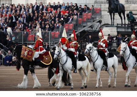 LONDON - JUNE 13: Mounted Bands at Beating Retreat on June 13, 2012 in London, UK. Beating Retreat is a military ceremony, performed by military bands, takes place on Horse Guard Parade in White Hall