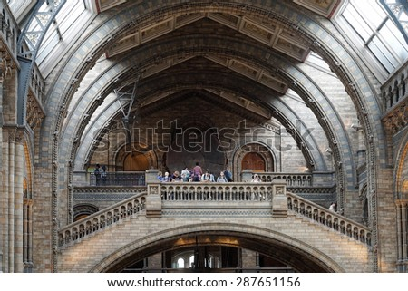 LONDON - JUNE 10 : People at the Top of a Staircase at the Natural History Museum in London on June 10, 2015. Unidentified people. - stock photo