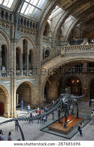 LONDON - JUNE 10 : People exploring  the National History Museum in London on June 10, 2015. Unidentified people - stock photo